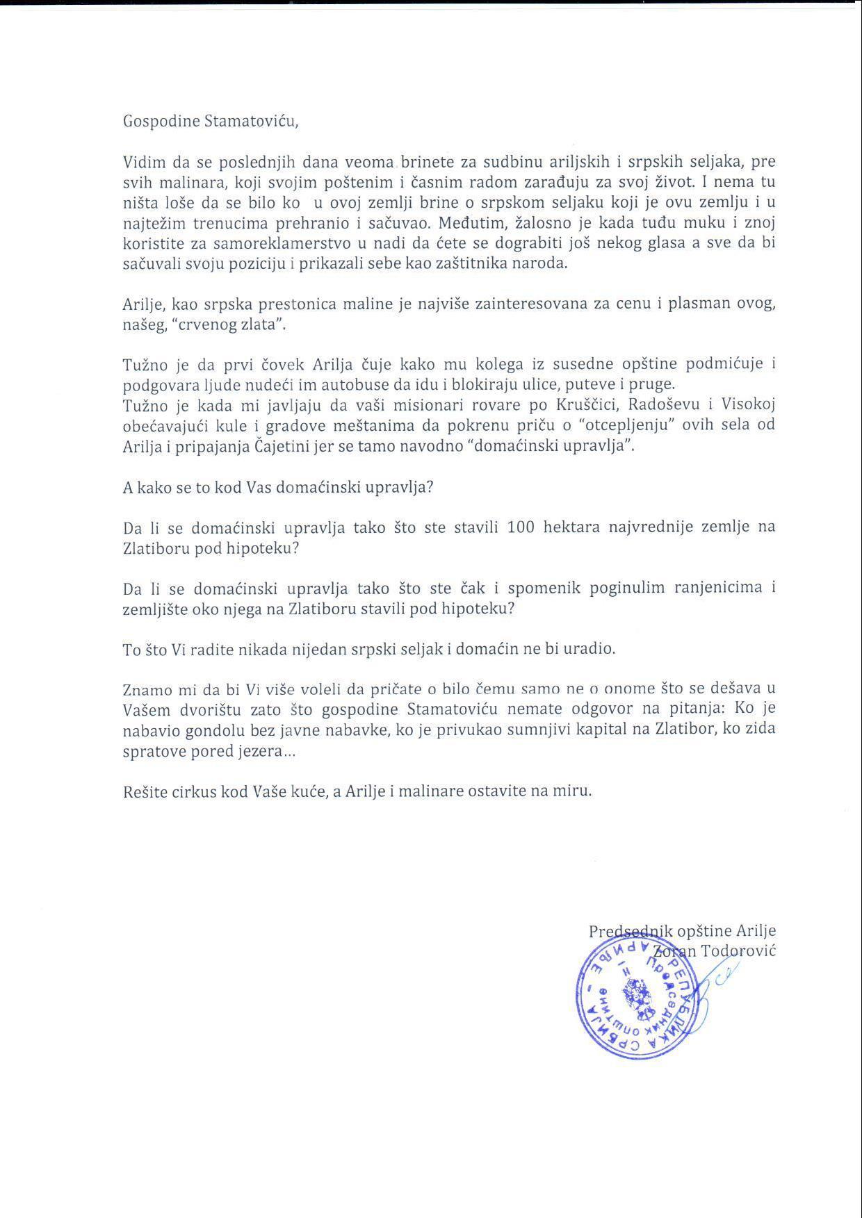 Otvoreno pismo predsednika Opštine Arilje